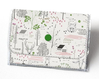 Handmade Vinyl Accordion Wallet - Forest / woodland, small wallet, snap, cute, card case, vinyl wallet, women's wallet, fox, moose, trees