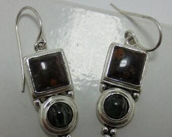 JASPER and AGATE - Sterling Silver Earrings