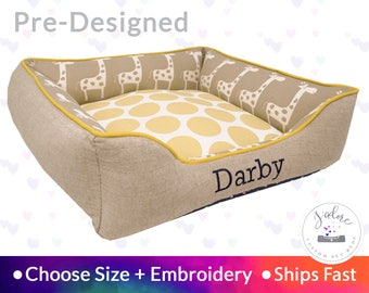 Cute Dog Bed or Cat - Giraffe, Natural, Navy, Polka Dot, Nursery | Washable, Reversible and High Quality - Ships Fast!