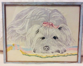 Beautiful Cross Stitch Maltese Puppy Framed Picture Little White Dog Vintage Kids Baby Nursery