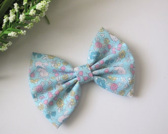 Light Blue with White Bunnies and Pink and Yellow Flowers | Spring Hair Bow | Easter Bow | Choose Alligator Clip or Nylon Headband