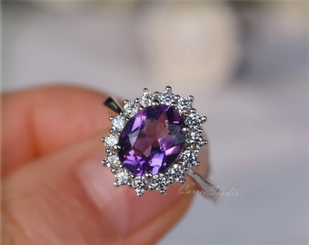 Oval Amethyst Ring Amethyst Engagement Ring/ Wedding Ring 925 Sterling Silver Ring Anniversary Ring Promise Ring