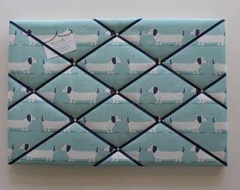 Pin Board, Dachshund Fabric, Sausage Dog Gifts,  Noticeboard, Blue Pin Board, Dachshund Gifts, Ribbon Board, Dog Lover Gifts, Memory Board