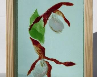 ORCHIDS, Fused glass flowers, Fused glass art, Glass painting, Shadow box art, Gardener's gift, Birthday gift, Patio art, Yard art