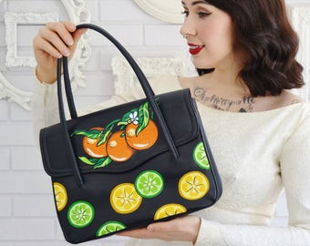 Citrus Celebration Painted Handbag, Vintage and Upcycled