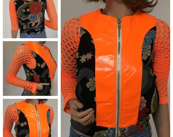 Maggie Barry Sample Sale- Sz SMALL.Florescent leather w/ Asian print fabric vest. Camo lining