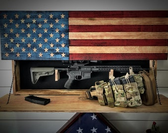Father's Day Hidden Gun Storage, American Flag Gun Storage, Hidden Gun Cabinet, American Flag, Gun Cabinet, Gift for Him, Christmas Gift