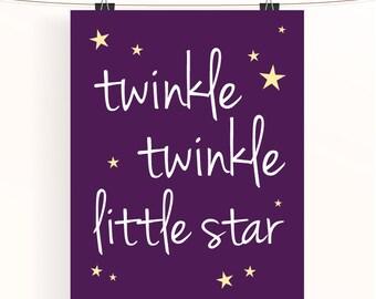 Twinkle twinkle little star - purple nursery print - typography poster - baby girl nursery - star nursery art - kids wall art