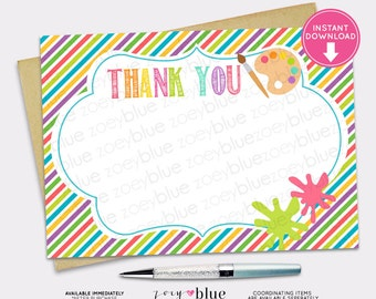 Art Party Blank Thank You Card Painting Party Birthday Baby Shower Printable Digital File INSTANT DOWNLOAD
