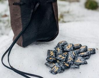 Elder Futhark Rune Set with Pouch Snowflake Obsidian Gemstone Viking Fantasy Medieval Divination Historical Runes Norse Vikings Ragnar