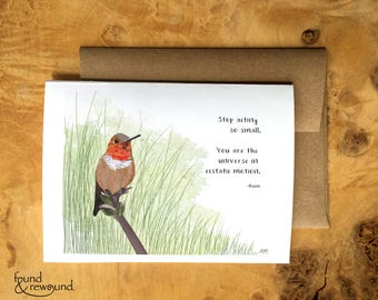 Greeting Card of a Hummingbird - Rumi Quote - Encouragement - Inspiration - Blank Inside