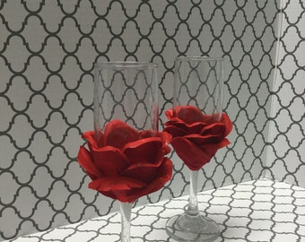 Rose Petal Toasting Glasses