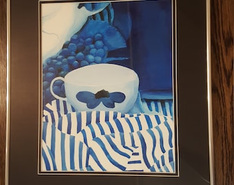 Original Blue White Still Life Acrylic Painting