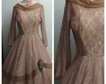 vintage 1950s lace party dress with rose detail