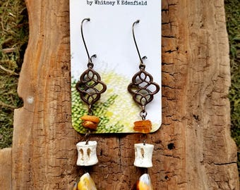 Copper Filigree Earrings with Amber, Fish Bone, and Mussel Shell