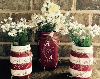 Ready to Ship!!!! University of Alabama Roll Tide Crimson Tide painted chalk paint mason jar vase set striped pint quart Ball