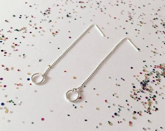Sterling Silver threader earrings with rings
