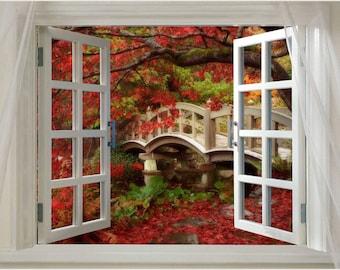 Window onto AUTUMN SPLENDOR scenic poster red leaves 24X36 foot bridge NEW!