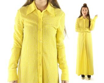 Vintage 90s Isaac Mizrahi Maxi Dress Yellow Seer Sucker Shirt Waist Dress Button Up Collared 1990s Medium M