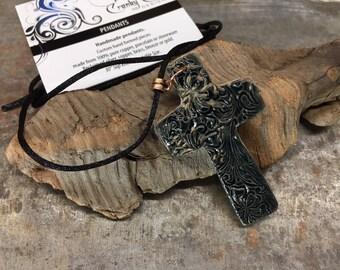 Stoneware cross pendant, cross pendant, stoneware pendant, clay cross