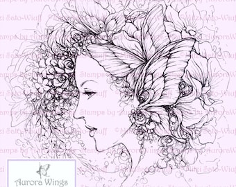 Digital Stamp Instant Download - Wings and Petals - Fairy with Butterflies and Flowers - Line Art by Mitzi Sato-Wiuff - AuroraWings