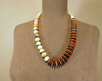 Vintage 80s stone and bone necklace Boho tribal asymmetrical orange and grey beaded necklace