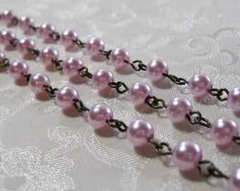 """Clearance SALE One Meter 39.5"""" Violet Purple Acrylic Pearl 6mm Beaded Rosary Link Chain Antique Bronze 976"""