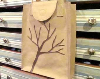 Leather, Appliqued, Nature Inspired, Market Bag, Tote Bag