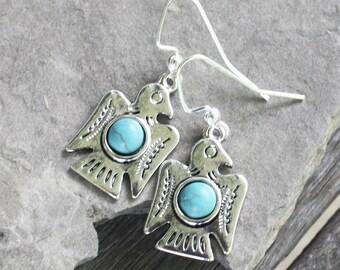 Silver Thunderbird Earrings, faux turquoise earrings, southwest earrings, southwest jewelry, silver earrings