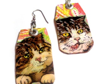 Paisley Scottish Fold Cat - hand painted kitty earrings with silver hooks