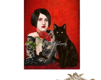 Mister Noir and I,1920's inspired, black cat, woman, cat, roses, red, lace, WickedlyLovely  blank Greeting Card