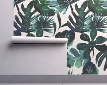 Monstera Wallpaper - Tropical Leaves Blush By Crystal Walen - Botanical Custom Printed Removable Self Adhesive Wallpaper Roll by Spoonflower