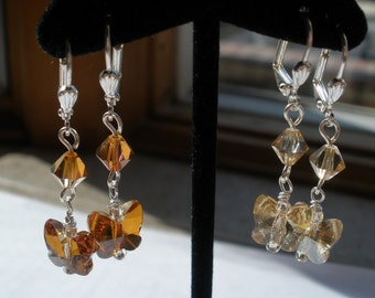 Swarovski Crystal Dangle Butterfly Earrings