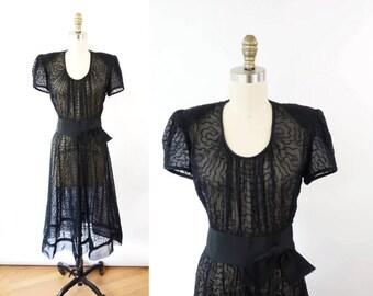 VINTAGE 1940s Dress Black Sheer XS