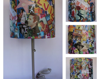 Elvis Presley Desk Lamp Bedside Living Room Lamp Collector Lamp Art Collage  Unique Gift Custom Gift