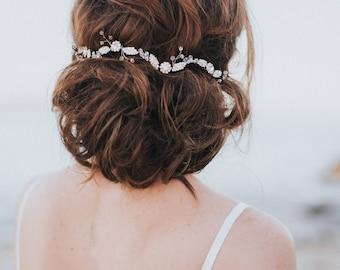 "Bridal Hair Vine, Rhinestone Hair Wreath, Bridal Headpiece  ~ ""Charlize"" Rhinestone Flower Hair Vine in Silver, Opal, Gold or Rose Gold"