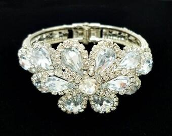 Vintage Rhinestone Clamper Bracelet, Rhinestone Hinge Bracelet, Statement Bracelet, Bridal Bracelet Cuff, Flower Bracelet, Bride Jewelry