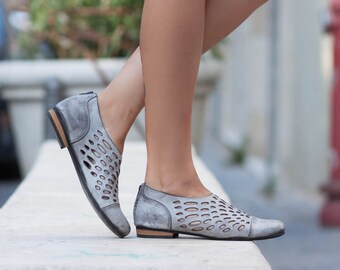Leather Shoes, Leather Sandals, Women Sandals, Women Shoes, Summer Shoes, Gray Shoes, Handmade Shoes, Cutout Sandals, Free Shipping