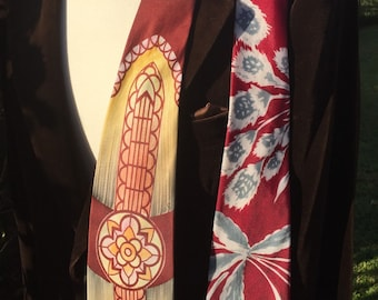 Two Ties Vintage Hand Painted 49.00 each  Two available