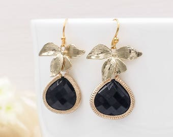 Gold and Black Earrings, Gold Orchid Flower Jet Black Teardrop Glass Dangle Earrings, Party Wedding Bridal Bridesmaid Mom Gift for Her