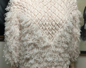 Vintage Side Effects Hand Crochet Sweater - 80's Fluffy Sweater - OOAK Hand Crochet Sweater