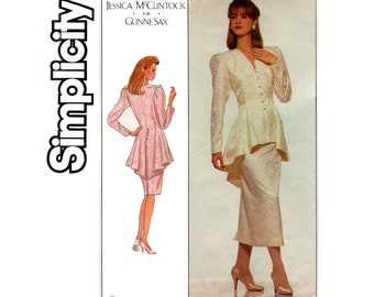 Simplicity 8947 Jessica McLintock for Gunne Sax Womens Peplum Top & Skirt 80s Vintage Sewing Pattern Size 14 Bust 36 Inches