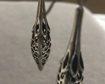 Vintage Sterling Budding Petal Earrings