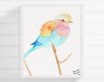 Lilac Breasted Roller Bird, Bird Art Print, Watercolor Bird, Bird Painting, Nursery Art Print, Bird Wall Art, Bird Wall Decor, Bird Poster