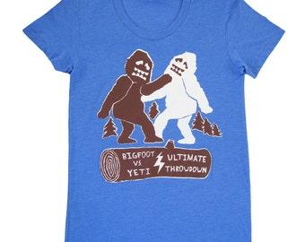 SALE Bigfoot Vs Yeti - Womens Girls T-shirt Abominable Snowman Monster Sasquatch Battle Fight Boxing Funny Humor Geek Tee Shirt Blue Tshirt