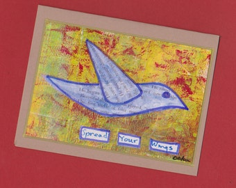 Spread Your Wings Blank Fine Art Bird Note Card Invitation Stationery