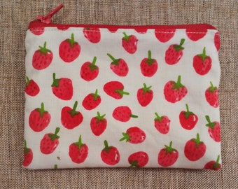 Many size strawberry zipper bag, change wallet, coin purse, zipper pouch, cellphone case, cosmetic and gift bag
