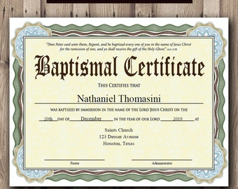 Baptism CERTIFICATE Template Microsoft Word Editable - Baptism certificate template