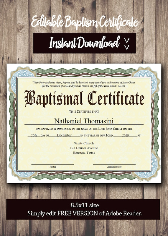 Editable baptism certificate template pdf adobe reader yelopaper Image collections