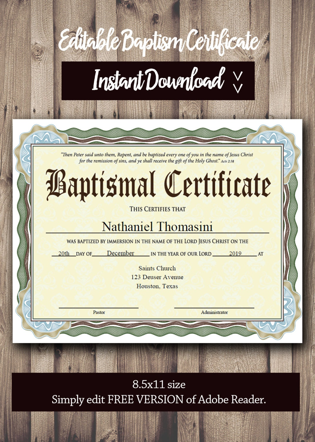 Editable baptism certificate template pdf adobe reader zoom alramifo Image collections